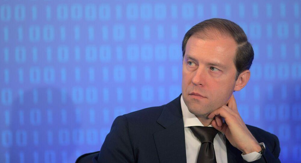O ministro da Indústria e Comércio da Rússia, Denis Manturov, durante encontro da União dos Produtores e Empresários da Rússia