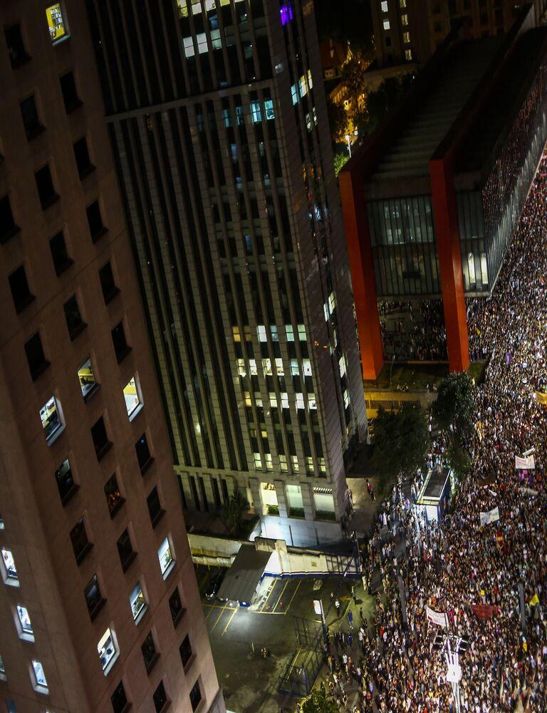 Também houve protesto pela memória Marielle Franco em São Paulo.