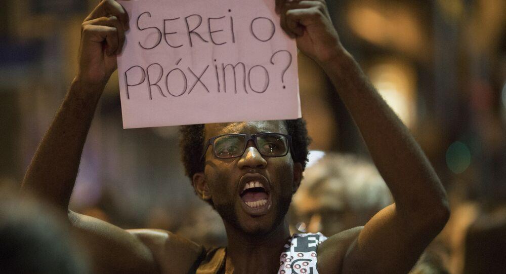 Protesto pela memória de Marielle Franco.