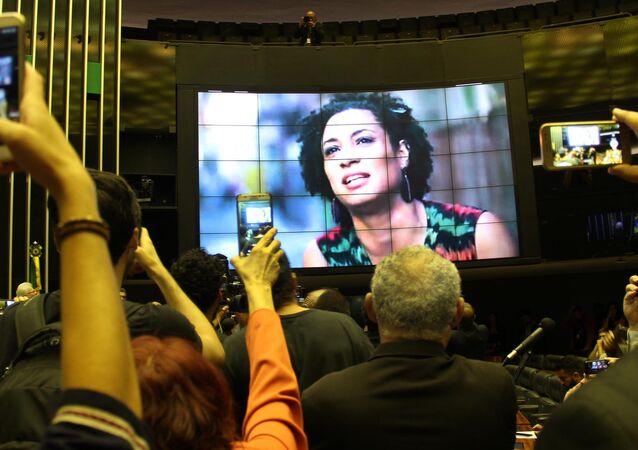 Ato no plenário da Câmara Federal em repúdio ao assassinato da vereadora Marielle Franco, do PSOL-RJ, e de seu motorista, Anderson Gomes