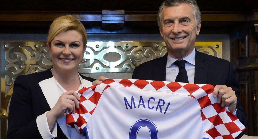 A presidente da Croácia, Kolinda Grabar-Kitarovic, e o presidente da Argentina, Mauricio Macri