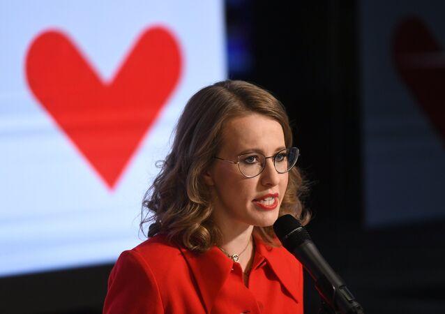Candidata à Presidência da Rússia, Ksenia Sobchak, na sua sede eleitoral em Moscou, na noite de contagem dos votos, em 18 de março de 2018