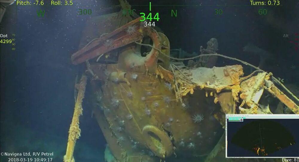 Destroços do cruzador norte-americano USS Juneau, afundado por um torpedo japonês durante a Batalha de Guadalcana, em 1942