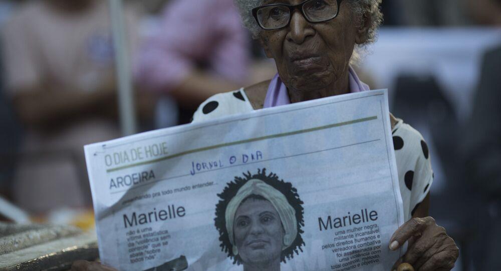 Protesto pela memória de Marielle Franco e Anderson Gomes.