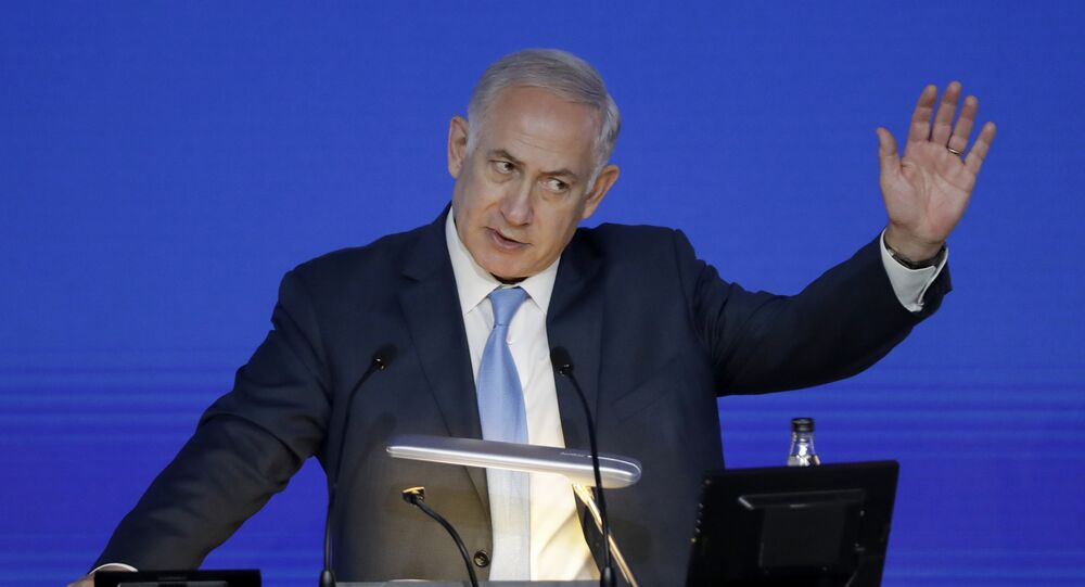 Israeli Prime Minister Benjamin Netanyahu gives an address at the London Stock Exchange in the City of London, Friday, Nov. 3, 2017.