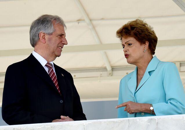 Dilma Rousseff e Tabaré Vázquez se encontraram nesta quinta-feira (21) em Brasília