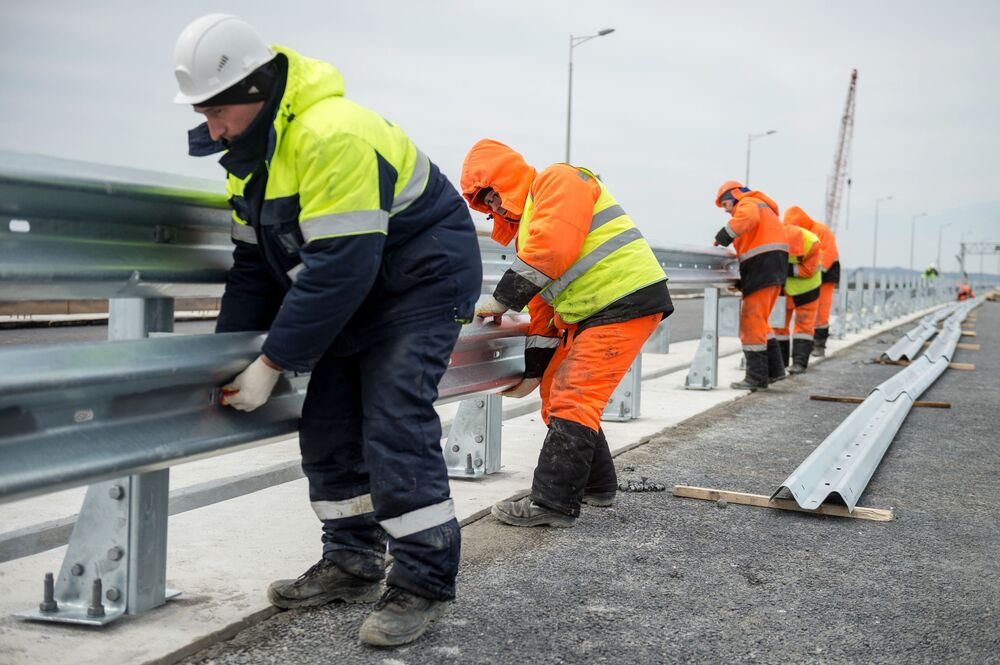 Construção da ponte da Crimeia, março de 2018