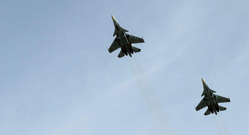 Caças multifuncionais Su-30SM no concurso Aviadarts 2018