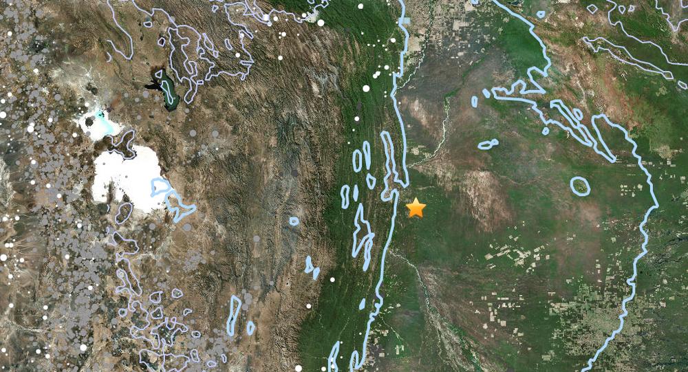 Serviço Geológico dos Estados Unidos mostra local do epicentro do terremoto na Bolívia.
