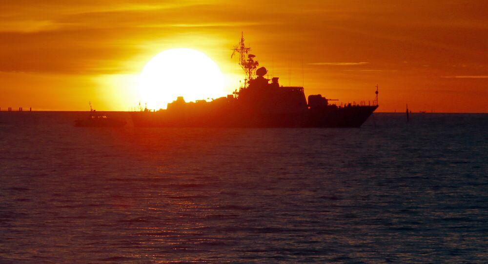 Navio-patrulha da Rússia no golfo da Finlândia (imagem referencial)