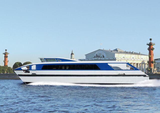 Catamarã do projeto 23290 desenvolvido pelo estaleiro russo Sredne-Nevsky e aplicador da tecnologia de materiais compósitos para criação de seu casco
