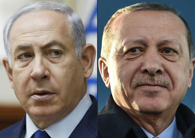 Combinação de fotos do premiê israelense, Benjamin Netanyahu (à esquerda) e presidente turco, Recep Tayyip Erdogan (foto de arquivo)