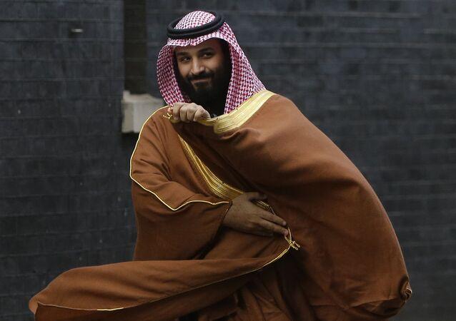 Mohammad bin Salman bin Abdulaziz Al Saud, príncipe herdeiro da Arábia Saudita, em Londres, para encontrar a premiê britânica, Theresa May