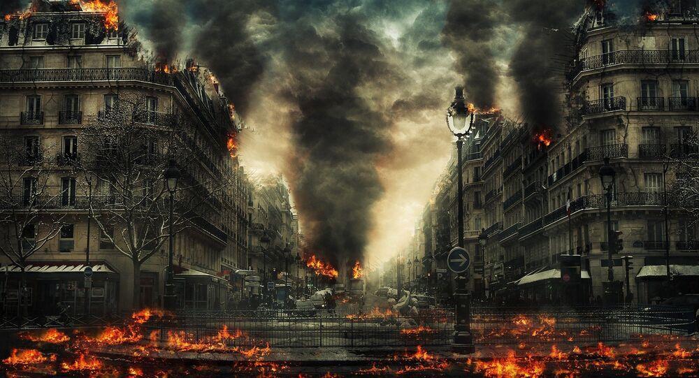 Cidade em chamas (ilustração)