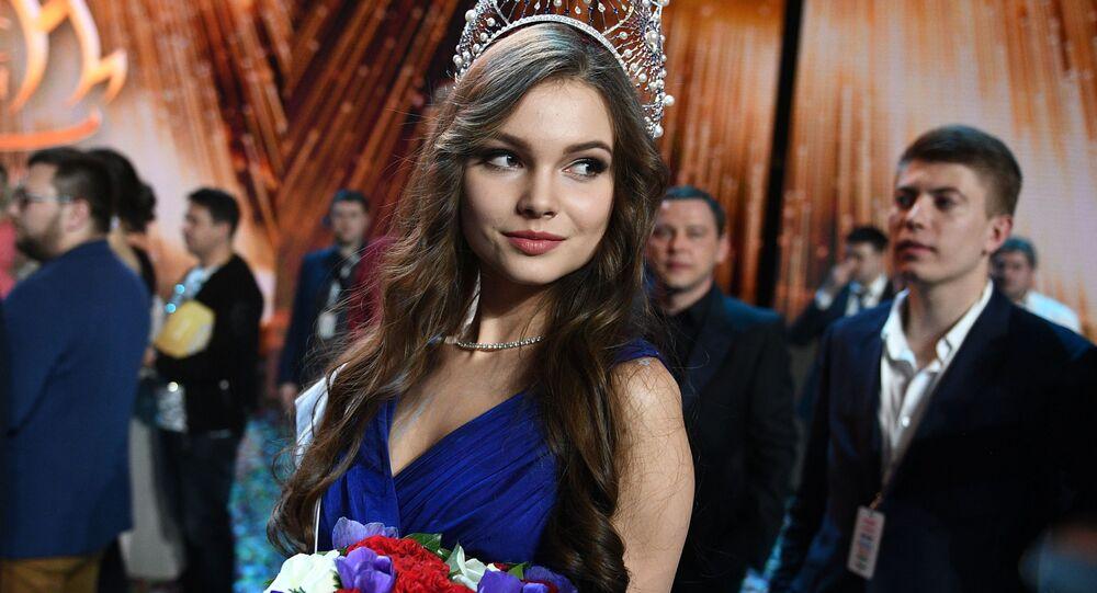 Miss Rússia 2018, Yulia Polyachikhina, durante a cerimônia de condecoração das finalistas do concurso, em Moscou