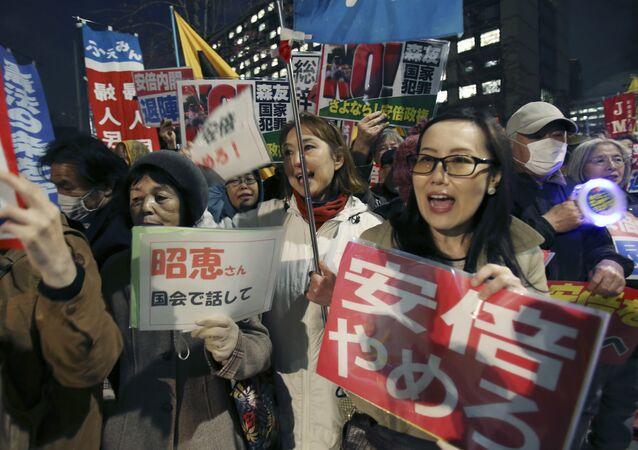 Protesto contra Shinzo Abe no Japão