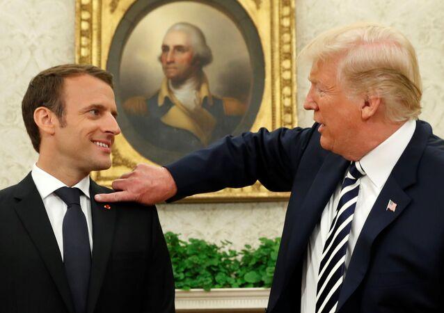 Trump e Macron na Casa Branca.