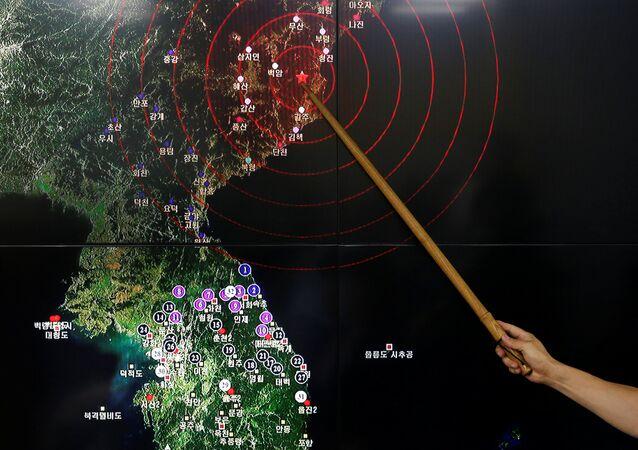 Local do teste nuclear no mapa