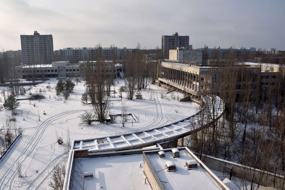 Cidade fantasma ucraniana Pripyat no inverno
