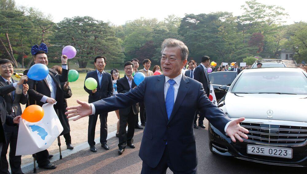 Presidente da Coreia do Sul, Moon Jae-in, durante as negociações intercoreanas na localidade de Panmunjom entre as duas Coreias