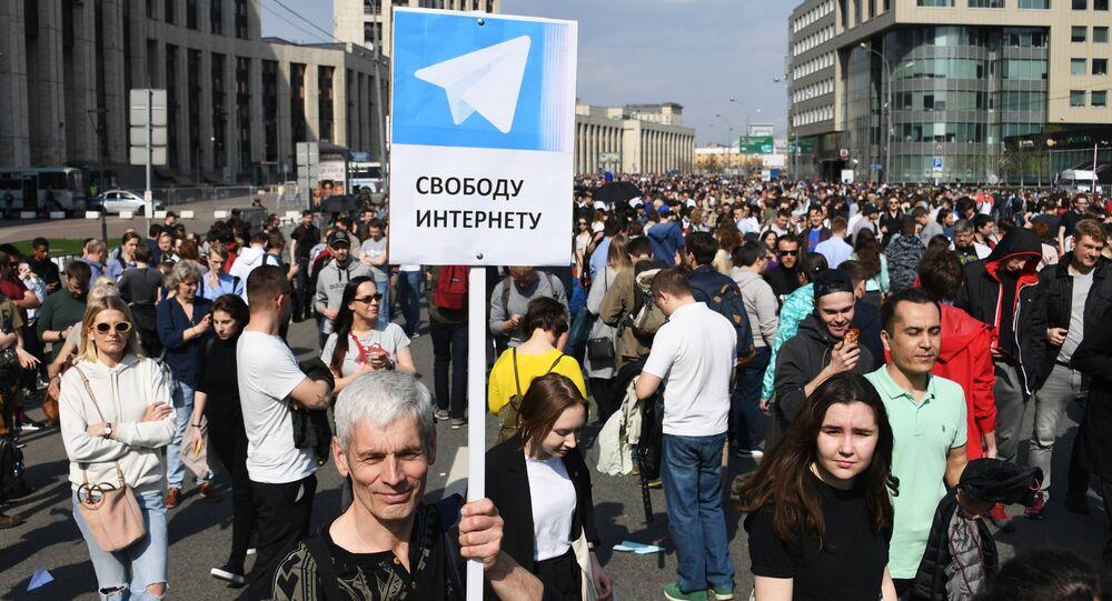 Marcha contra o bloqueio do Telegram em Moscou.