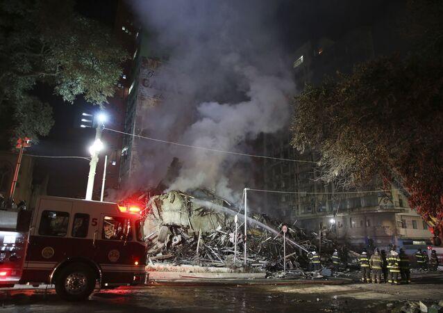 Local do incêndio em São Paulo, 1º de maio de 2018