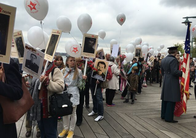 Participant's in Immortal Regiment commemoration activities in New York gather for a march
