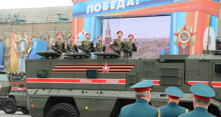 Veículos blindados Taifun-K da Polícia Militar da Rússia participam do ensaio geral da 73ª Parada da Vitória, em 6 de maio de 2018, na Praça Vermelha