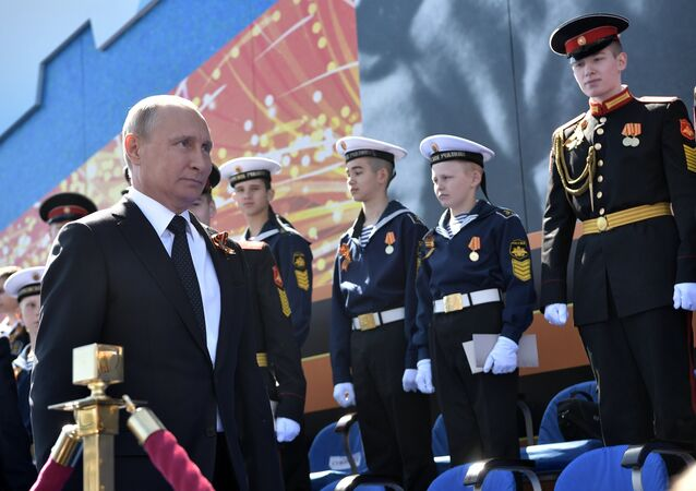 Presidente russo, Vladimir Putin, na Parada da Vitória dedicada à comemoração do 73º aniversário da vitória sobre a Alemanha nazista