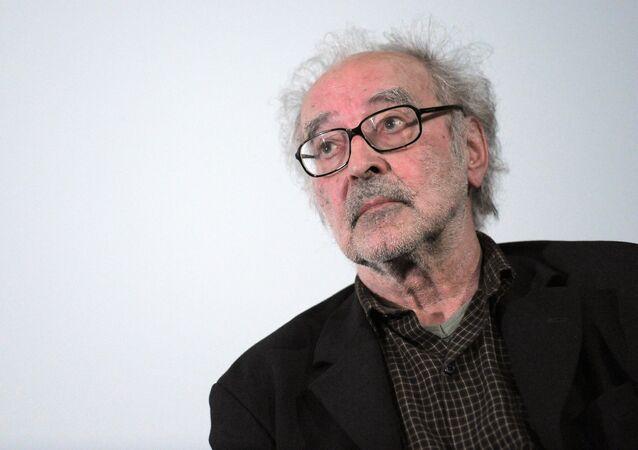 In this file photo taken on June 19, 2010 Swiss film director Jean-Luc Godard attends a debate when presenting his last movie 'Film socialiste' (Socialist movie) at the Cinema des cineastes in Paris