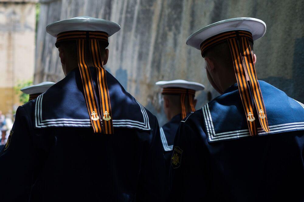 Marinheiros da Frota do Mar Negro, cujo objetivo é garantir a segurança das fronteiras meridionais da Rússia e das regiões do mar Negro e Mediterrâneo