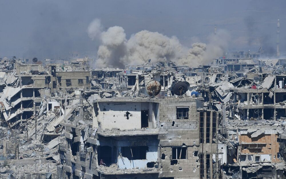 Territórios atacados dos militantes da organização terrorista Daesh, no subúrbio a sul de Damasco