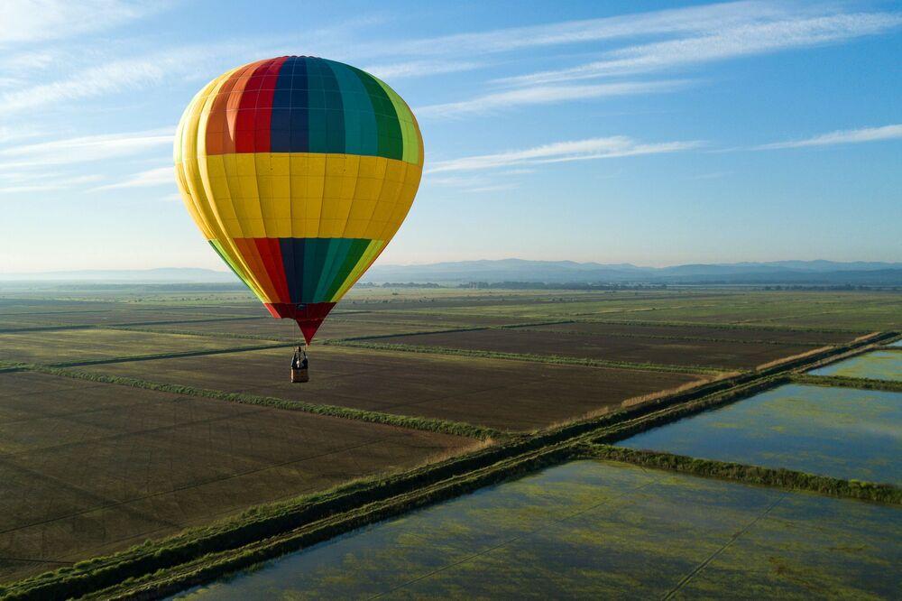 Festival de balões de ar quente, na região de Krasnodar