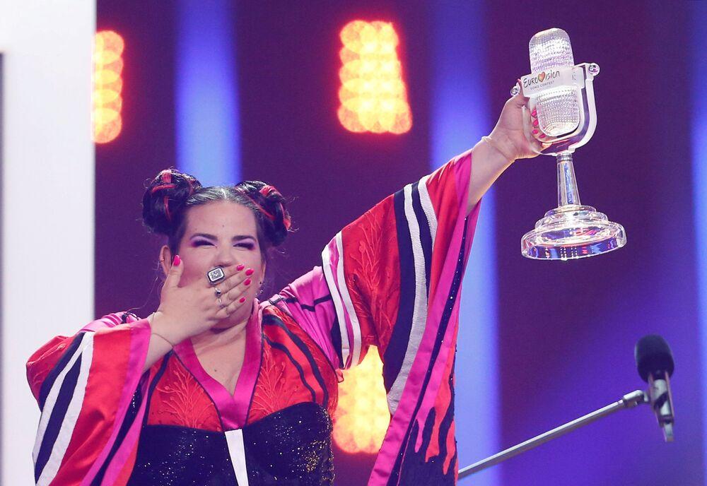 Representante israelense, Netta, reage à sua vitória no concurso de Eurovisão, em Lisboa