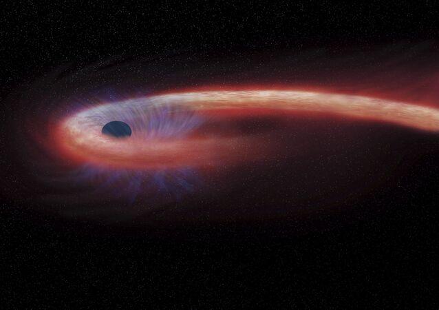 Buraco negro renderizado pela NASA.