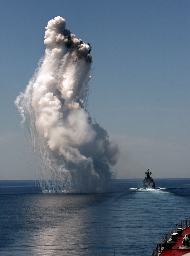 Destroier russo Admiral Vinogradov participa de saída conjunta para o mar dos navios da Frota do Pacífico para treinamento de missões de combate