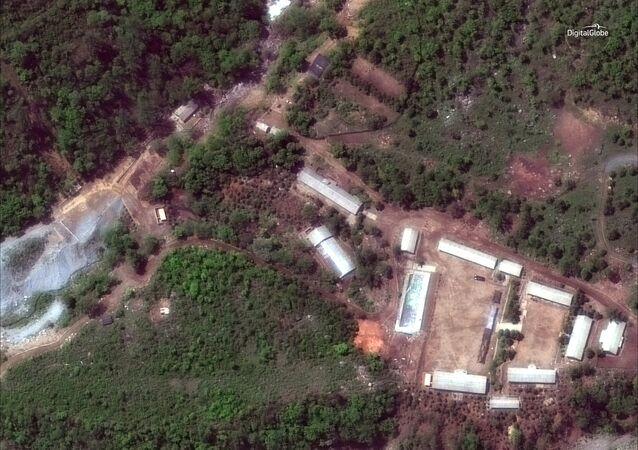 Imagem de satélite da instalação nuclear norte-coreana de Punggye-ri