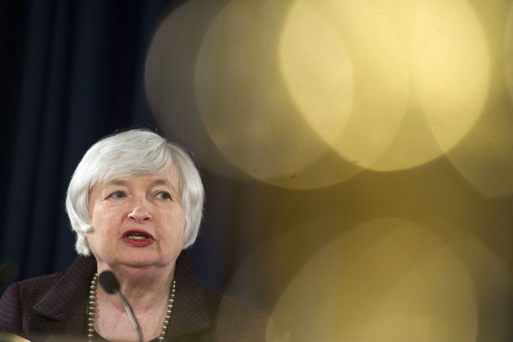 Presidente da Reserva Federal dos EUA Janet Yellen faz uma declaração sobre o emprego e perspectivas económicas.