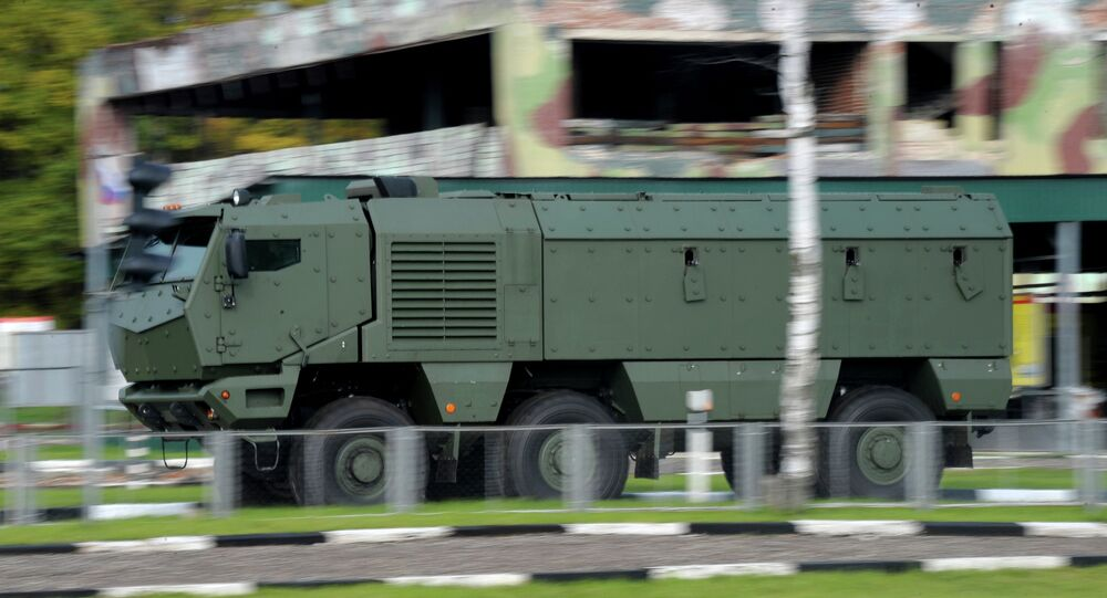 A Typhoon armored vehicle manufactured by KAMAZ