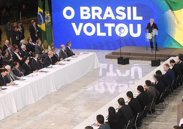 Michel Temer discursa durante uma cerimônia de celebração de dois anos no mandato, no Palácio do Planalto, em 15 de maio de 2018