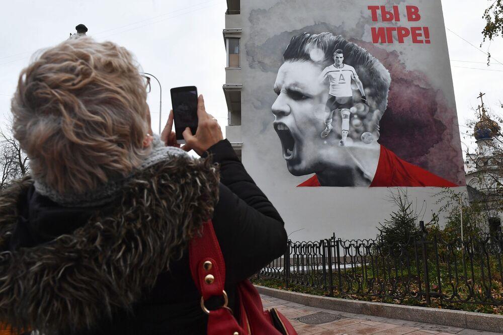 A parede de um edifício residencial em Moscou