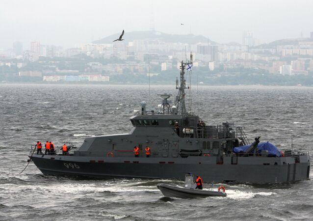 Uma lancha para operações antissabotagem do projeto 21980, denominada Grachonok