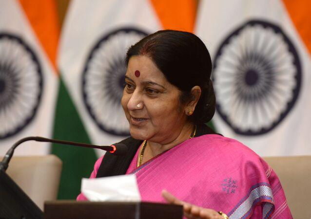 A ministra indiana das Relações Exteriores, Sushma Swaraj.