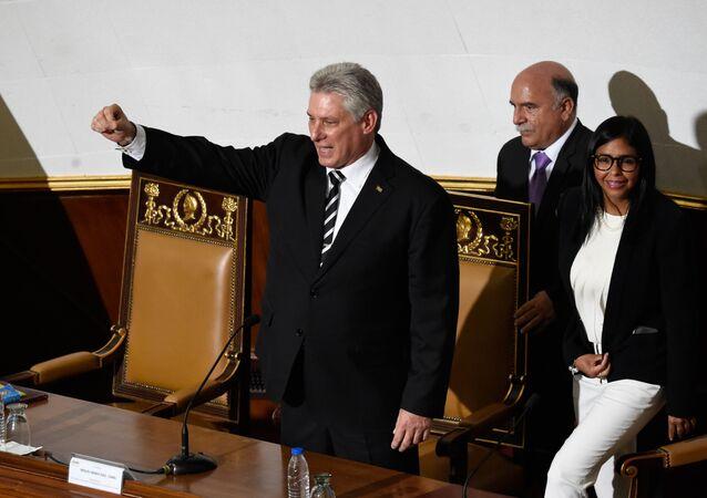 Presidente cubano, Miguel Díaz-Canel, em discurso na Assembleia Nacional Constituinte da Venezuela