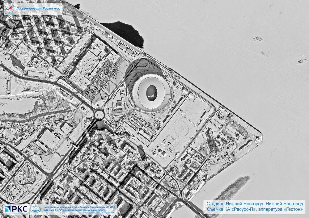Imagem do estádio Nizhny Novgorod tirada pelo satélite russo Resurs-P nas vésperas da Copa do Mundo 2018, na cidade-sede de Nizhny Novgorod