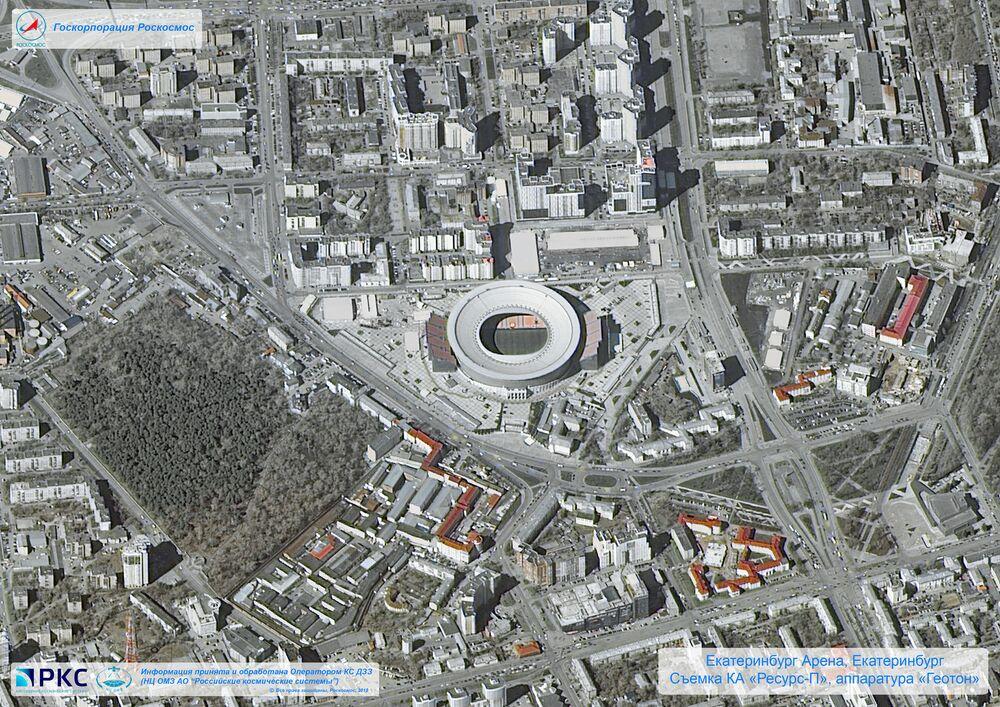 Imagem do estádio Ekaterinburg Arena tirada pelo satélite russo Resurs-P nas vésperas da Copa do Mundo 2018, na cidade-sede de Ekaterinburgo