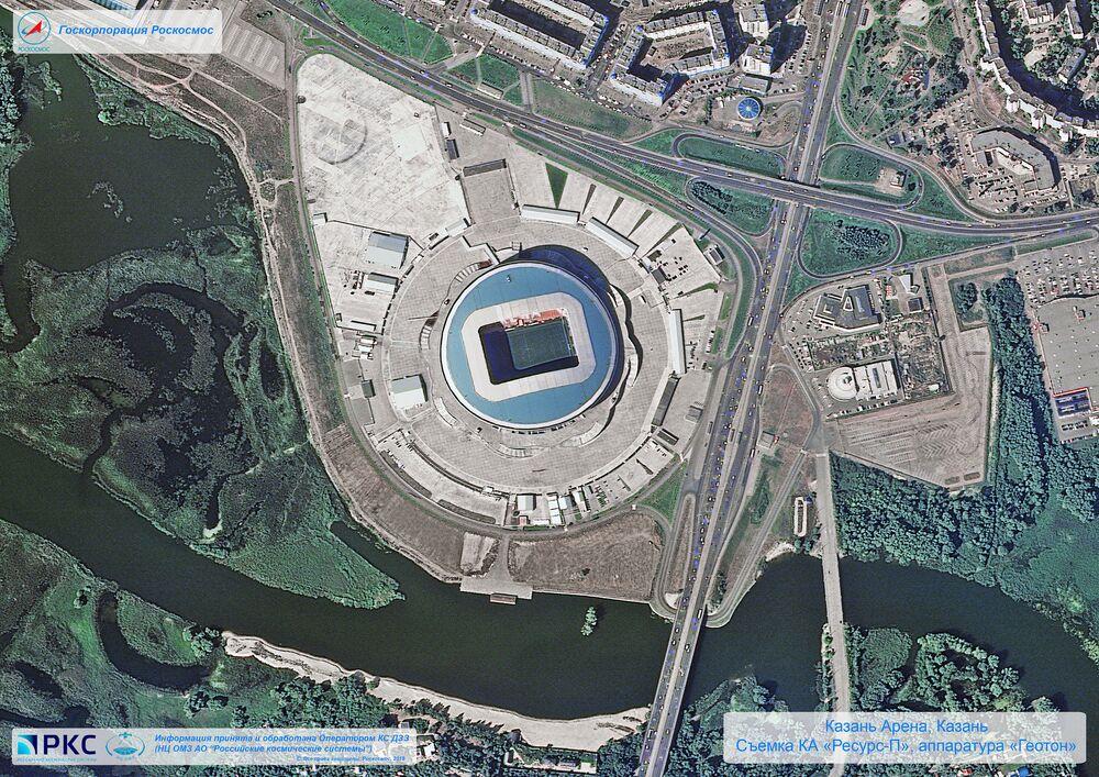 Imagem do estádio Kazan Arena tirada pelo satélite russo Resurs-P nas vésperas da Copa do Mundo 2018, na cidade-sede de Kazan