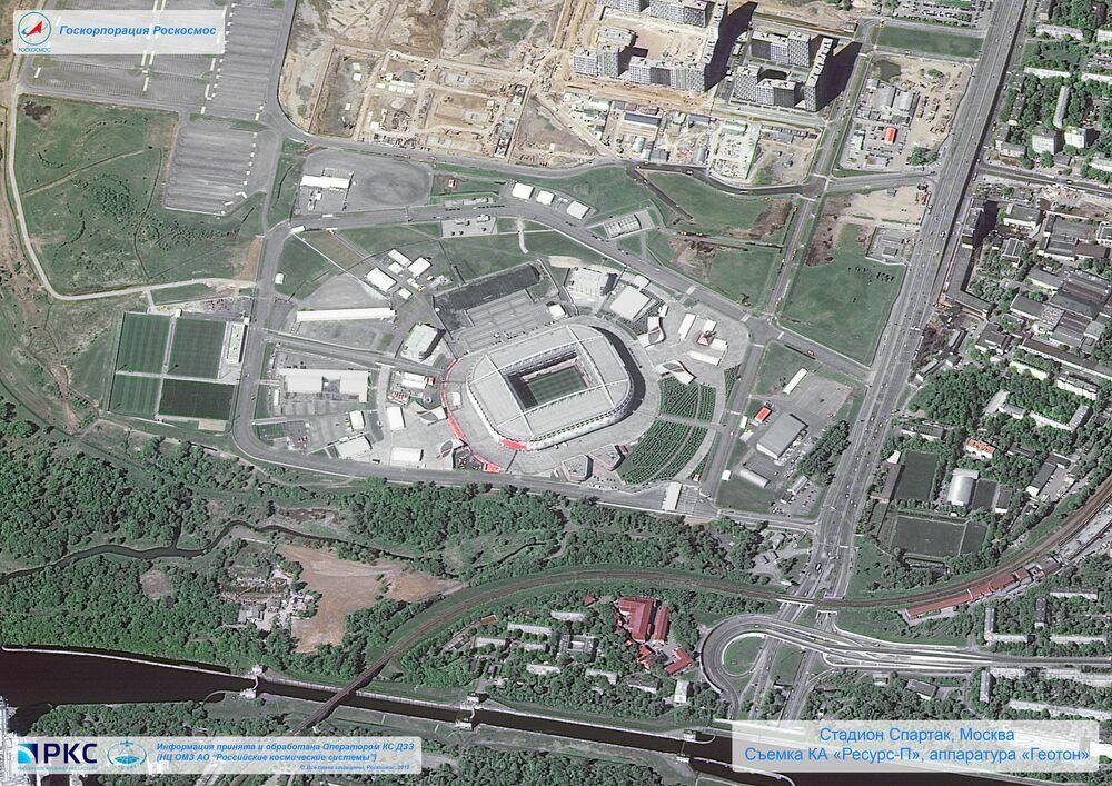 Imagem do estádio Spartak Arena tirada pelo satélite russo Resurs-P nas vésperas da Copa do Mundo 2018, na cidade-sede de Moscou
