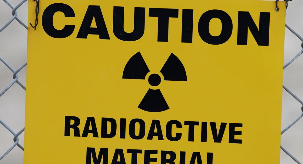 Placa de alerta de radioatividade (foto de arquivo)