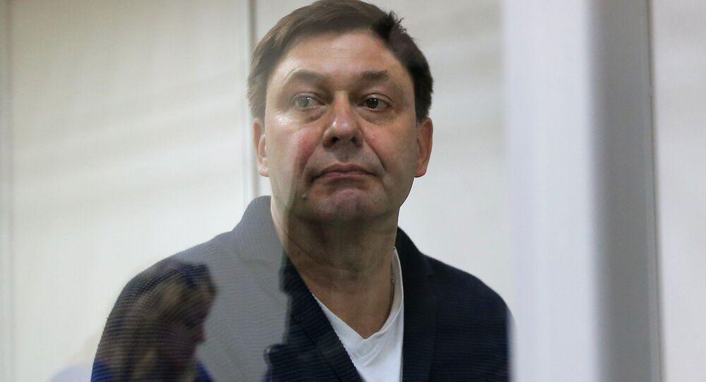 Jornalista russo e chefe do portal RIA Novosti Ucrânia, Kirill Vyshinsky, no tribunal de Kherson enquanto este considera a apelação do caso, 1º de junho de 2018